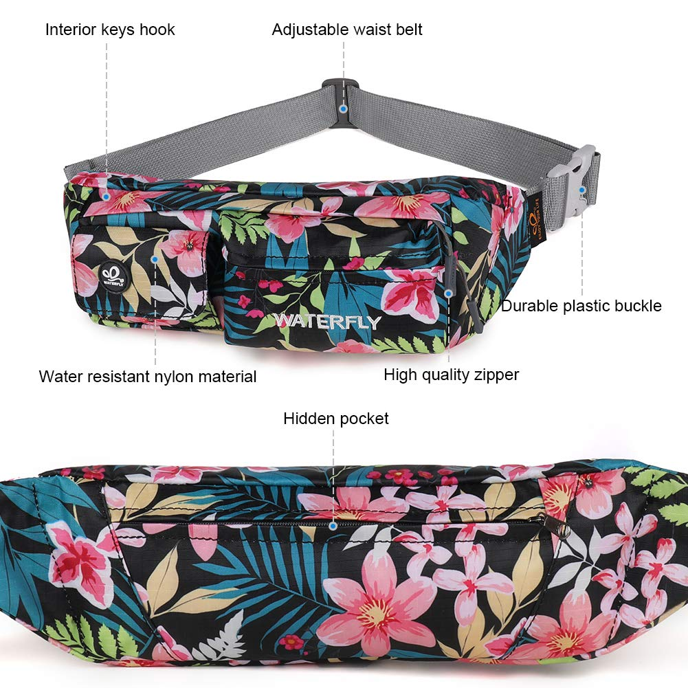 Waterfly Fanny Pack Slim Soft Polyester Water Resistant Waist Bag for Man Women Carrying iPhone Xs 8 Plus Samsung S10 Plus//Note 8