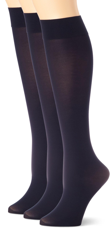 HUE Women's Soft Opaque Knee High Socks (Pack of 3),Navy,1