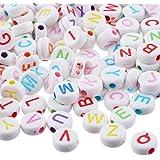 ZALAGO Mix Buchstaben Flachrund Acryl Perlen Beads zum Basteln 7x7mm,1000 stk