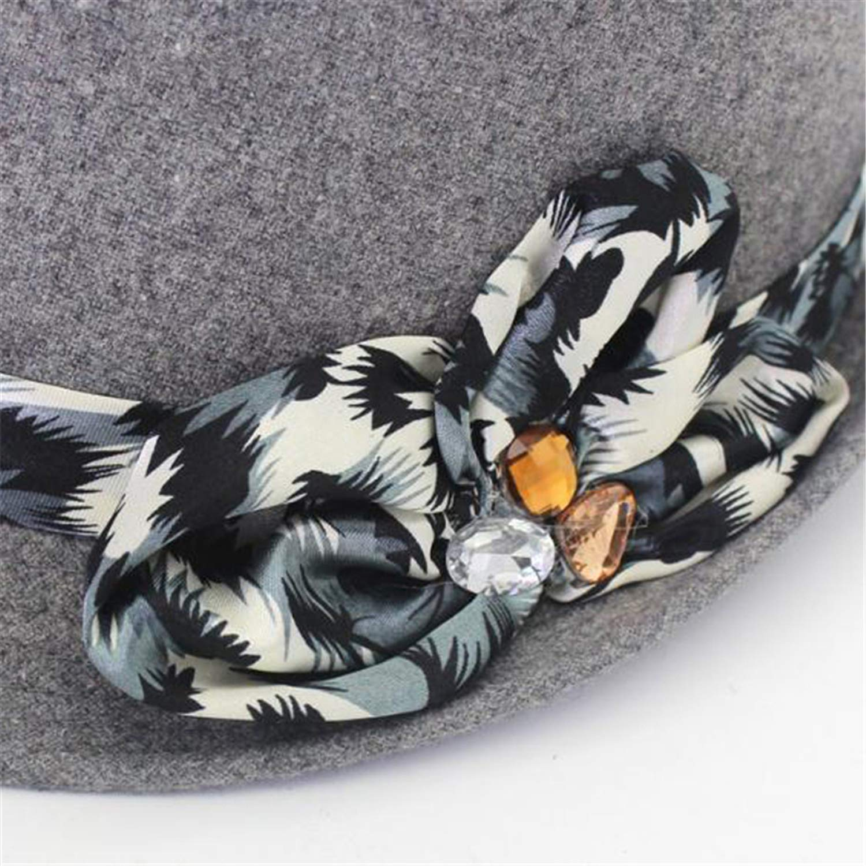Fashion Women Fedora Hat Classic Bow Wool Hat Felt Vintage Autumn Winter Tweed Jazz Hat
