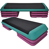 Aerobic Step - 110cm*40cm Cardio Exercise Stepper - 6 Riser Block + 1 Green Stepper - Home Gyms and Fitness Training
