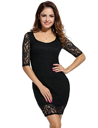 Meharbour Floral Lace Fitted Retro Evening Pencil Dress A-line ... 8204d6365