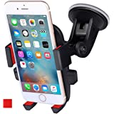 ANCOOLE Car Mount Phone Holder Cradle for Windshield 360 Degrees Rotation Freely Adjustable for iphone X/8/7/6S/6 Plus Samsung Galaxy S8/S7 edge Universal Phone (Red)