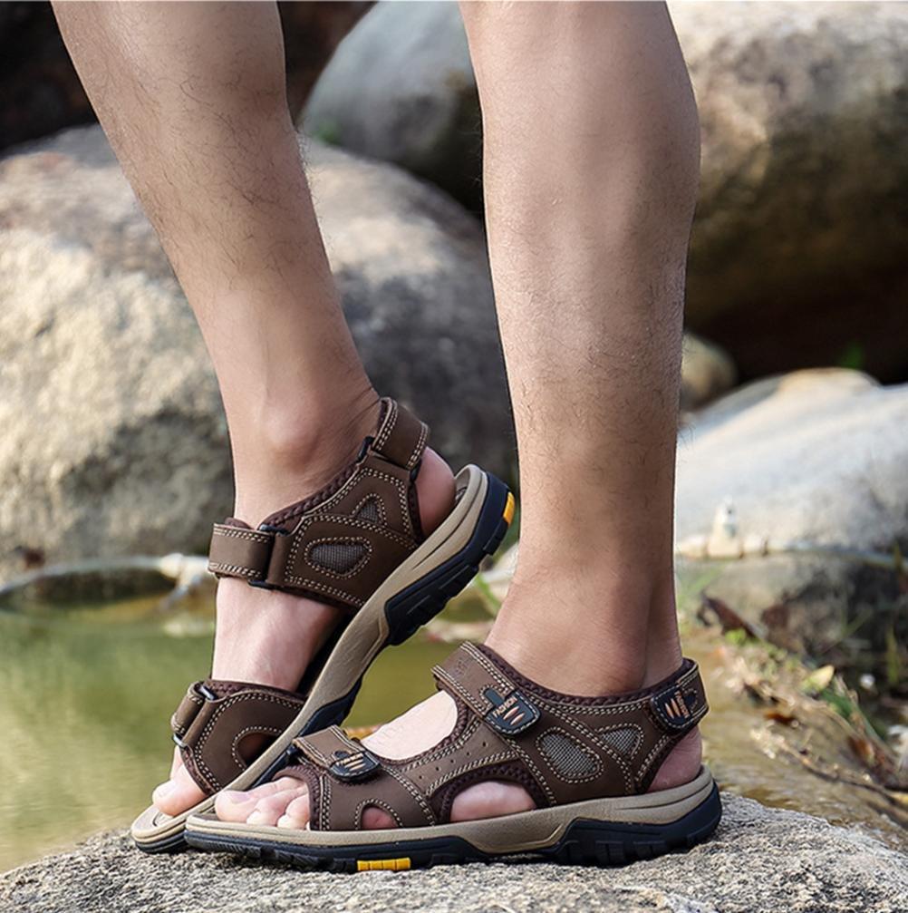 Männer Leder Sandalen Gemütlich Dauerhaft Rutschfest Strand Sandalen Sommer Sport Waten SchuhePakamo Sandalen Gemütlich Dauerhaft Rutschfest