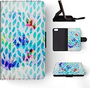 Foxercases Design (2020) Watercolor Raindrop Pattern Art Flip Wallet Phone Case Cover for Apple iPhone 5 / 5S / SE (2016)