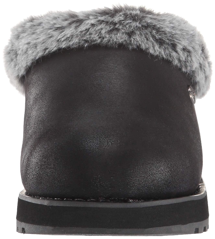 Skechers Damen Keepsakes - R E M Flache Hausschuhe (Black Micro Leather/Faux Fur Line Blk)