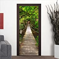"SENGE Forest Door Murals Forest Wall Mural 78.7""x30.3"" Door Decals Door Forest Mural Door Wall Stickers Wallpaper Mural DIY Home Decor Poster Decoration (2#Forest)"