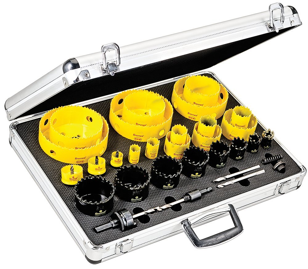 Starrett KMX25061-N 31-Piece Bimetal, Carbide-Tipped, and Cordless Smooth Cut Electrician's Hole Saw Kit with Aluminum Case