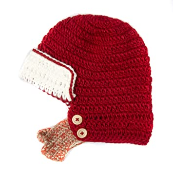 1109cc4fdd5 Amazon.com  Red and White Beanie with Beard - Boy Girl Toddler Kid (Large)   Baby