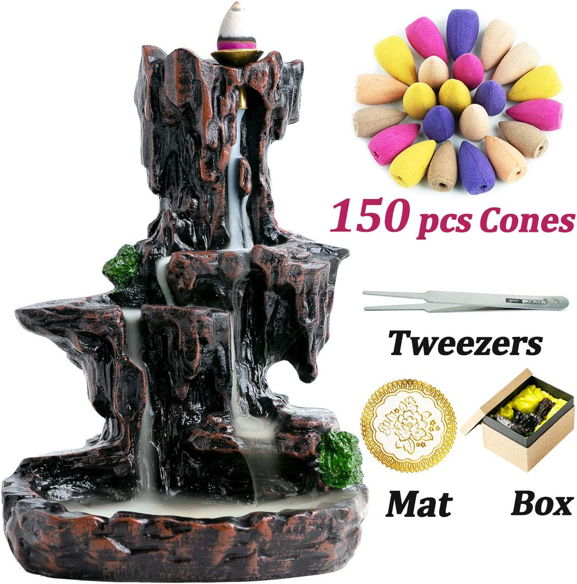 AIRUI Backflow Waterfall Incense Holder,Mountain Tower Incense Burner,Aromatherapy Ornament Home Decor with 150 Backflow Incense Cones
