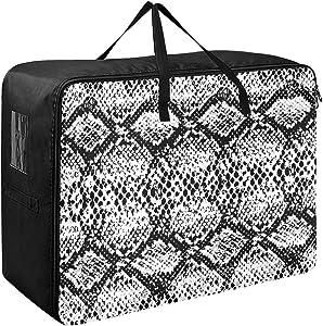 Godfery Gabriel Large Storage Bag Space Saving Snake Skin Texture Laundry Bag Comforter Quilt Bedspread Pillow Luggage Moving Tote Garment Closet Storage Organizer Space Saver