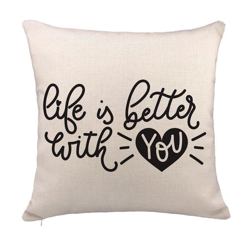 spxubz Life Is Better With You枕カバー装飾ホーム装飾素敵なギフトスクエアインドア/アウトドア枕カバーサイズ: 16 x 16インチ( Two Sides ) 20x20 Inch B07CGNRX9X