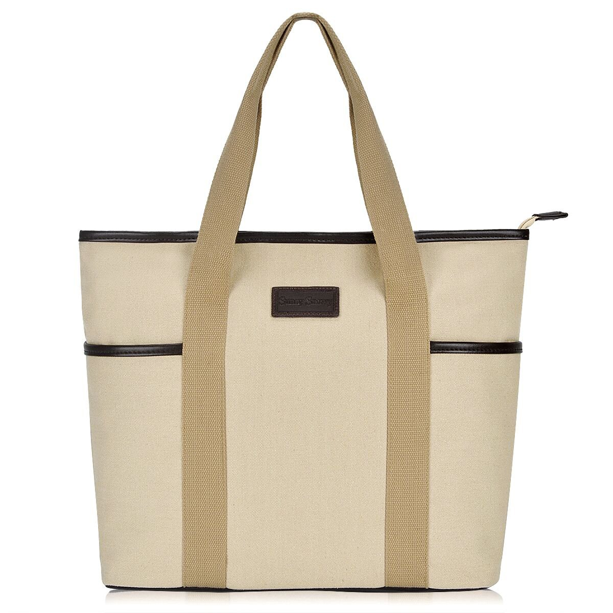 Canvas Tote Bag for Women,Sunny Snowny Large Tote Bags,Work School Shoulder Bag(8002,Beige)
