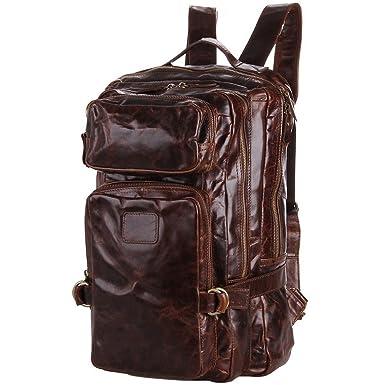 Amazon.com: BAIGIO Men's Genuine Leather Backpack Hiking Rucksack ...