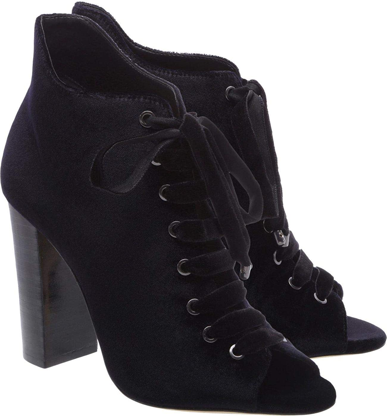 Schutz Alexia Black Leather Peep Toe LaceUp Edgy High Heel Stiletto Ankle Bootie