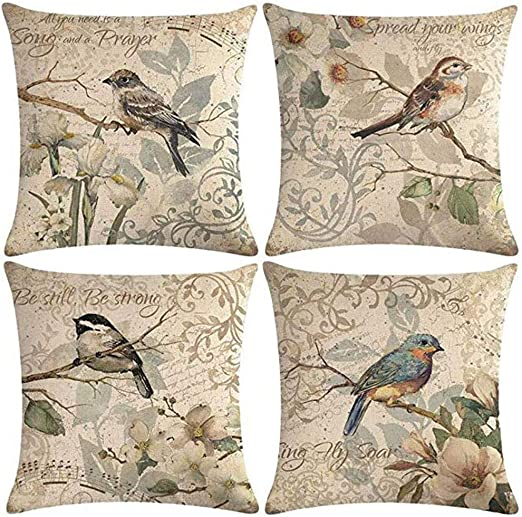 "BLUEBIRD FAMILY INDOOR OUTDOOR PILLOW PILLOWS 18/"" SQUARE BIRD PILLOW"