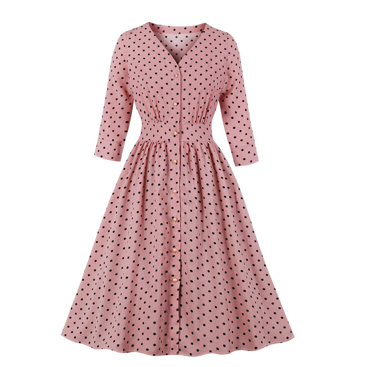 500 Vintage Style Dresses for Sale | Vintage Inspired Dresses Wellwits Womens Split Neck Floral Button 1940s Day 1950s Vintage Tea Dress $26.99 AT vintagedancer.com