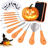 Philonext Halloween Pumpkin Carving Set,Pumpkin Cutting Tools, 11 Pieces Stainless Steel Professional Pumpkin Carving Kit with Carrying Case & 10PCS Carving Templates - Black