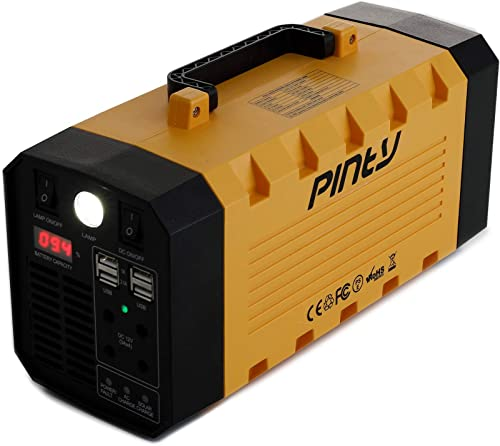 Pinty Portable Uninterrupted Power Supply 300W, UPS Battery Backup, Rechargeable Generator Power Source with AC Inverter, USB, DC 12V Outputs for Outdoors and Indoors 300W, Yellow