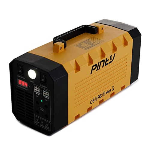 Pinty Portable Uninterrupted Power Supply 500W, UPS Battery Backup, Rechargeable Generator Power Source with AC Inverter, USB, DC 12V Outputs for Outdoors and Indoors 300W, Yellow