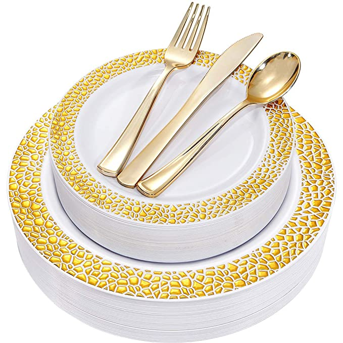 BUCLA 25 Guest Gold Plastic Plates with Disposable Plastic Silverware, Hammered Design Plastic Tableware include 25 Dinner Plates,25 Salad Plates,25 Forks, 25 Knives, 25 Spoons