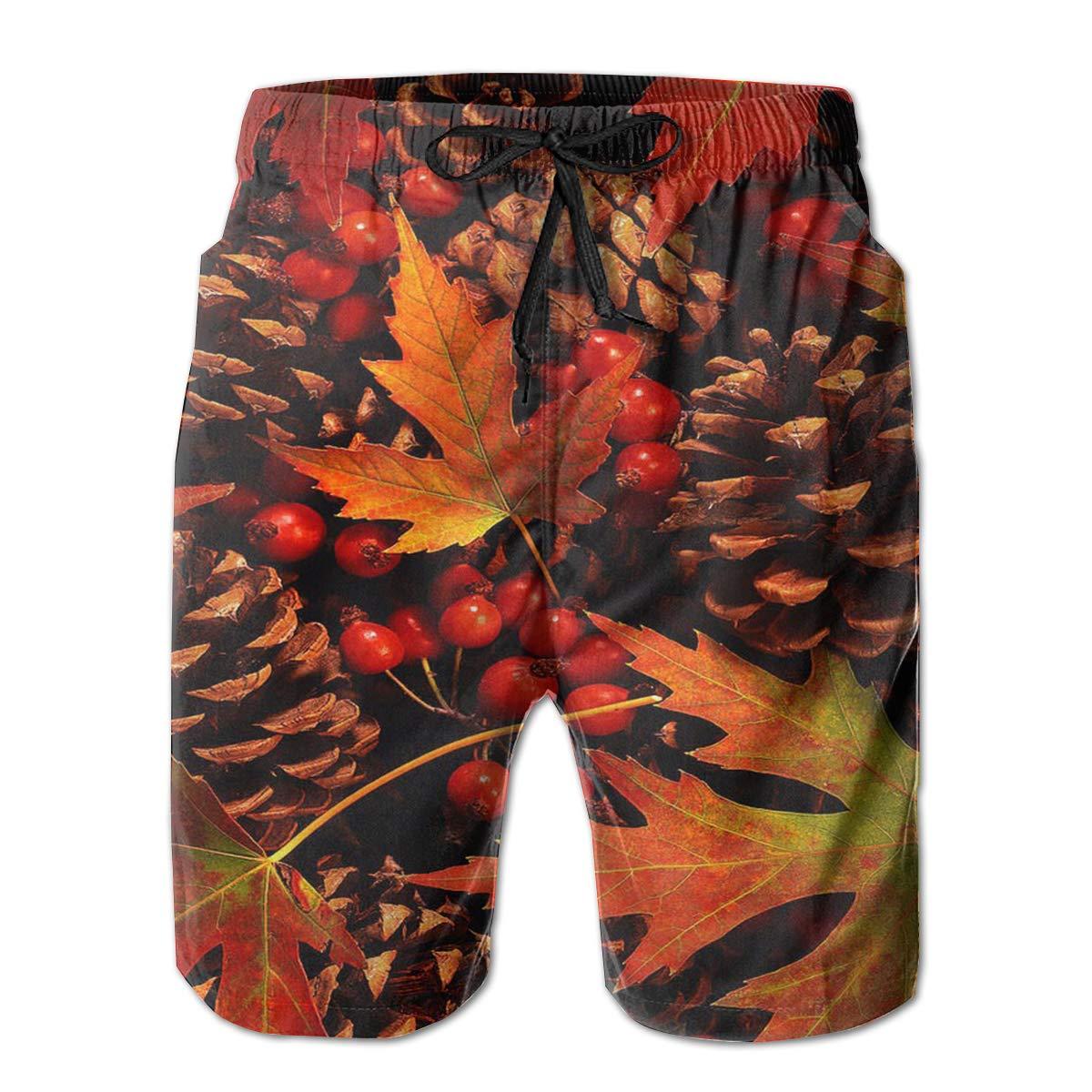 AMRANDOM Boys Board Shorts Fall Leaves Squirrel Quick Dry Swim Surf Trunks