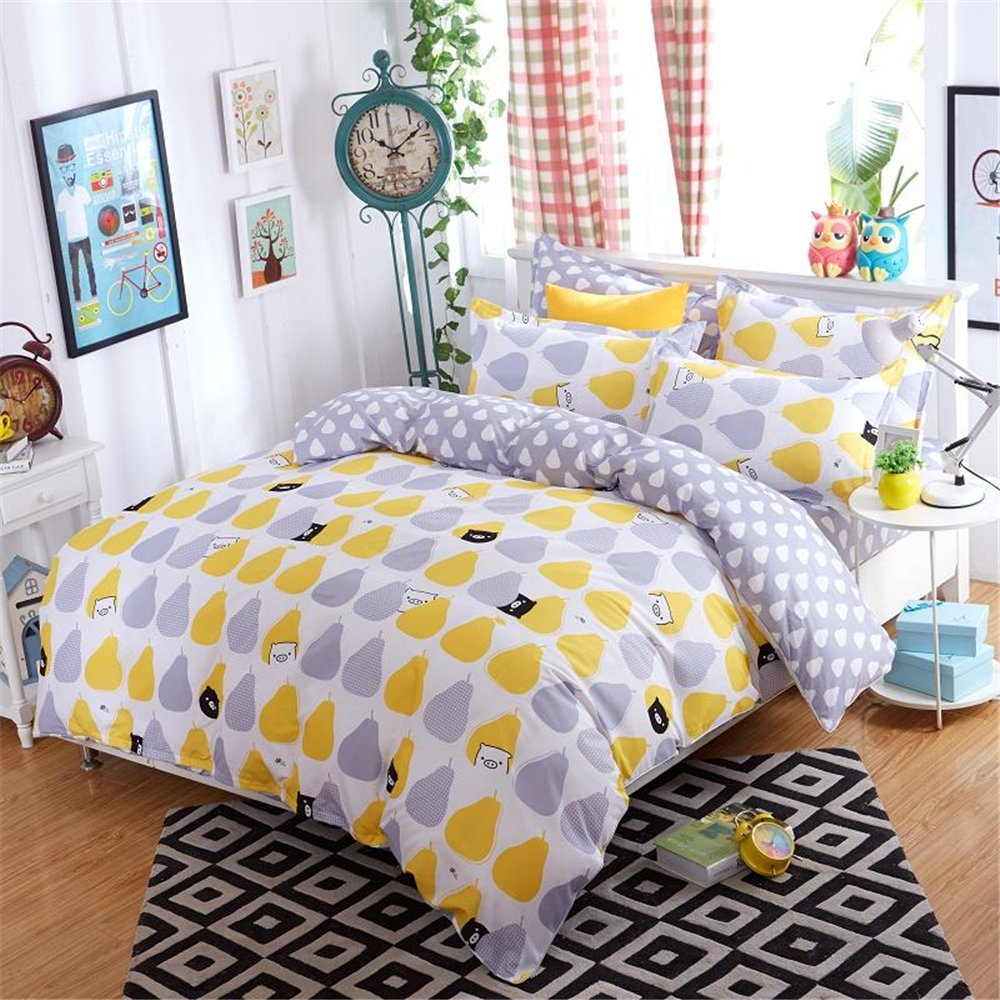 Bed sheets for teenagers - 3 Pieces Yellow Grap Pear For Teens Boys Girls Prints Duvet Cover Sets