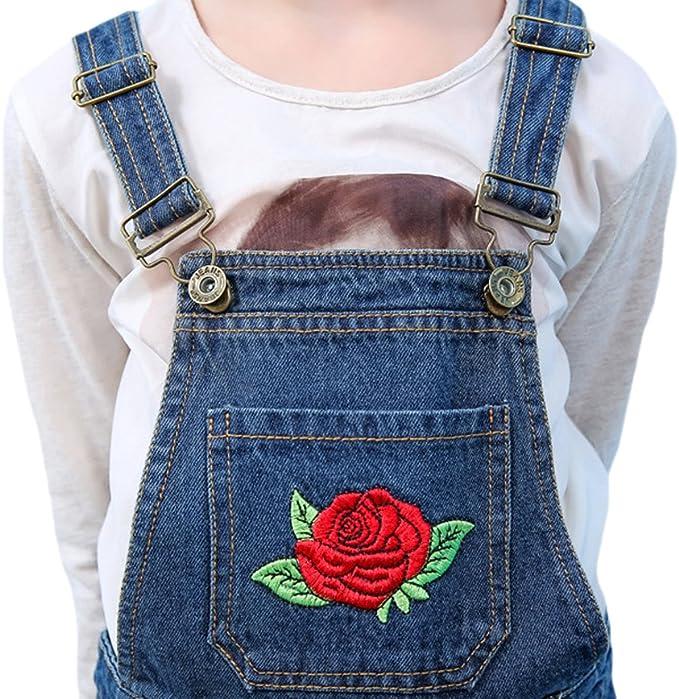 Tortor 1Bacha Kid Girls Rose Flower Embroidered Distressed Denim Bib Overall