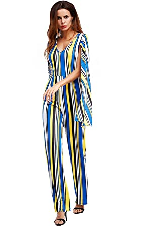 Fashion Striped Cape Jumpsuit High Waist Flared Palazzo Pants Office  Jumpsuit For Women
