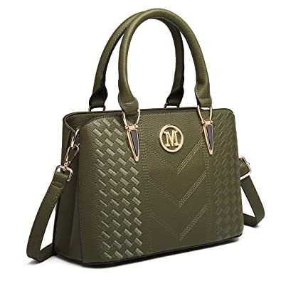 Miss Lulu Women Top Handle Bag Woven pattern and Chevron Shoulder Bag Front M  Logo Handbags 6dd73687555d2