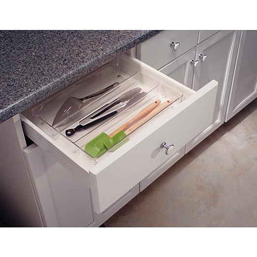 InterDesign Linus Organizador de cajones, cubertero para cajones de cocina grande en plástico para guardar cubiertos y otros utensilios, transparente