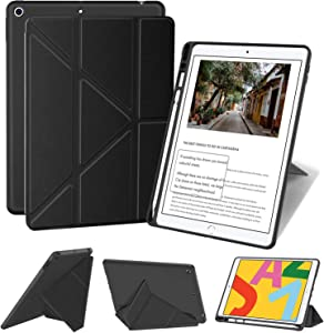 Supveco iPad 10.2 Case 2020&2019,8th Generation & 7th Generation iPad Case with Pencil Holder,Multiple Viewing Angles Magnetic Cover Cases for iPad 8th&7th Generation 10.2 Inch, Black
