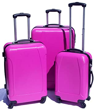 NEW HOT PINK HARD SHELL LIGHTWEIGHT 3 SUITCASE SET 4 WHEEL SPINNER ...