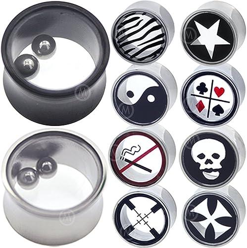 PAIR-Bone w//Black Star Saddle Flare Ear Plugs 10mm//00 Gauge Body Jewelry