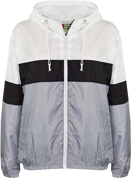 Kids Girls Boys Windbreaker Jackets Contrast Sleeve Red Hooded Rain Mac Raincoat