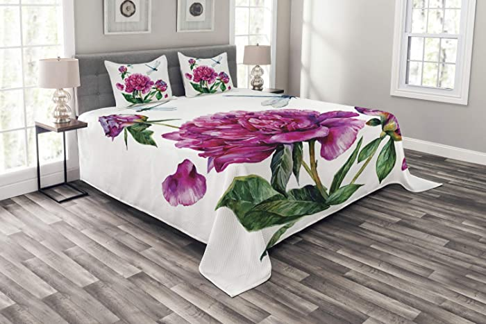 Ambesonne Flower Bedspread, Watercolor Peonies and Dragonflies Blossoming Spring with Romantic Feminine Bouquet, Decorative Quilted 3 Piece Coverlet Set with 2 Pillow Shams, Queen Size, Green Pink
