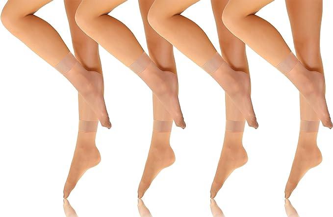 Sesto Senso Tobilleros Calcetines Medias Mujer 15 DEN Transparantes 4 Pares