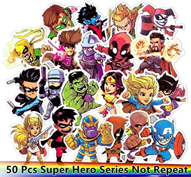 Qthzl Autocollant 50 Pcs Avengers Super Heros Marvel Dessin Anime