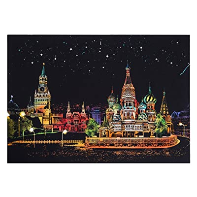 redcolourful Fashion Creative DIY Scratch Bright City Night View Scraping Painting World Sightseeing Pictures as Gifts Russia Red Square: Home & Kitchen