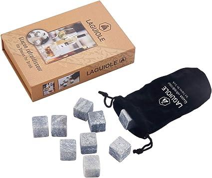 LAGUIOLE - Cubitos enfriadores de Esteatita Premium - Caja de regalo de 9 cubitos - Ideal para Whisky o Ron - piedra de jabón - Gris