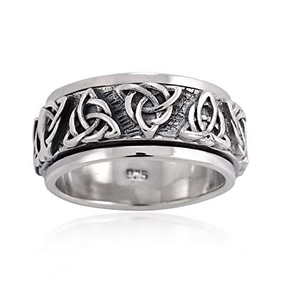 2942e76f2877e Chuvora 925 Oxidized Sterling Silver Triquetra Trinity Celtic Knot Weave  Band Ring Men Women Unisex