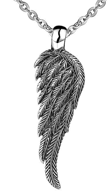 f5d38961c3e7 feilok colgante de acero inoxidable grande retro alas de ángel collar  colgante collar para hombre  Amazon.es  Joyería