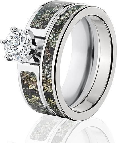 Amazon Com Realtree Camo Bridal Set Camo Wedding Rings Timber