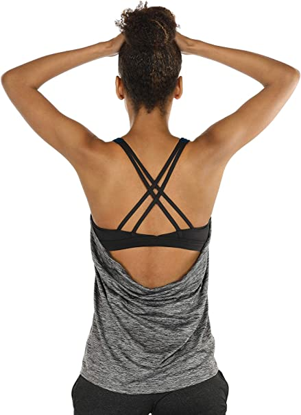 icyzone Workout Tank Tops Built in Bra - Womens Strappy Athletic Yoga Tops, Exercise Running Gym Shirts