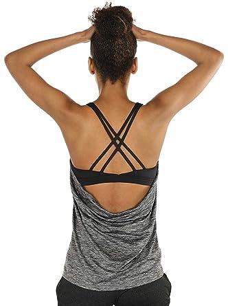 1794f92028f0b icyzone Camiseta de Fitness Deportiva de Tirantes para Mujer  Cruzado-Cruzado 2 en 1 Chaleco Deportivo  Amazon.es  Ropa y accesorios