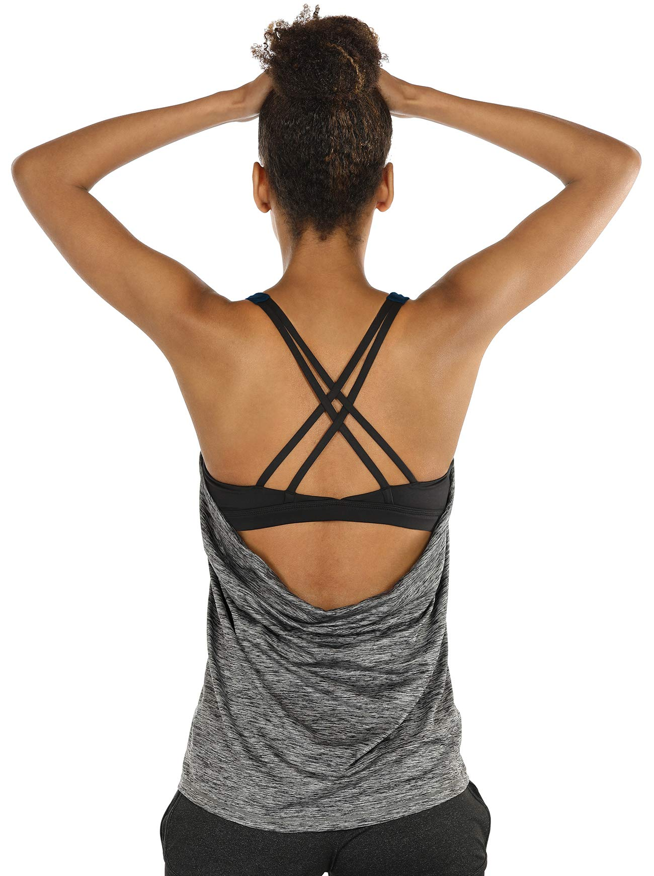 icyzone Yoga Tops Workouts Clothes Activewear Built in Bra Tank Tops for Women (S, Charcoal)