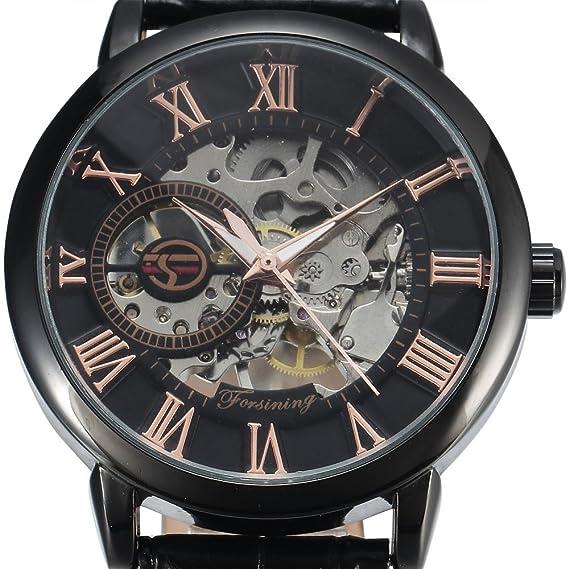 Forsining Hombres de oro de esqueleto mecánico, Dial Negro Correa de cuero reloj de pulsera