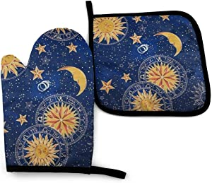 Ja Yhou dontcy Celestial, Night, Sky, Stars, Sun and Moon Oven Mitts, Non-Slip Silicone Oven Mitts, Extra Long Kitchen Mitts, Heat Resistant to 500Fahrenheit Degrees Kitchen Oven Gloves