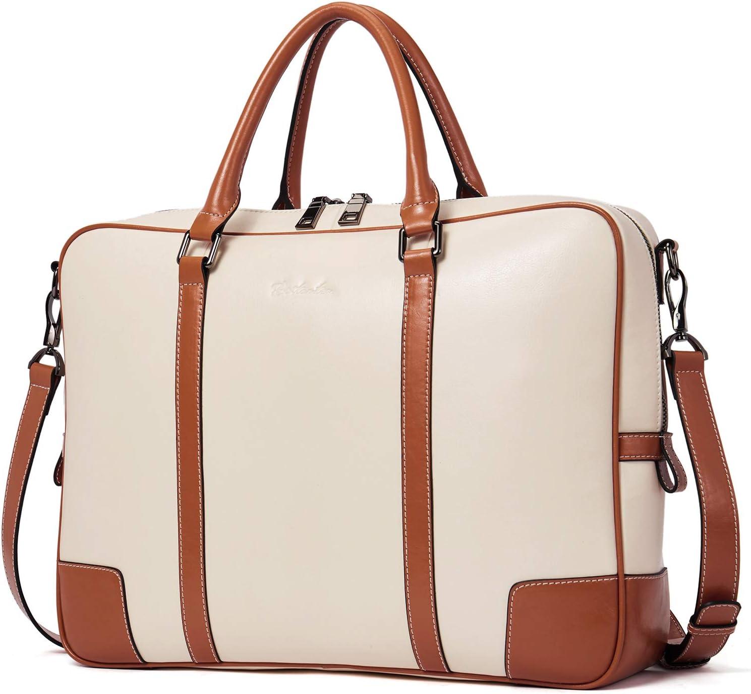BOSTANTEN Leather Briefcase Messenger Satchel Bags Laptop Handbags for Women Apricot