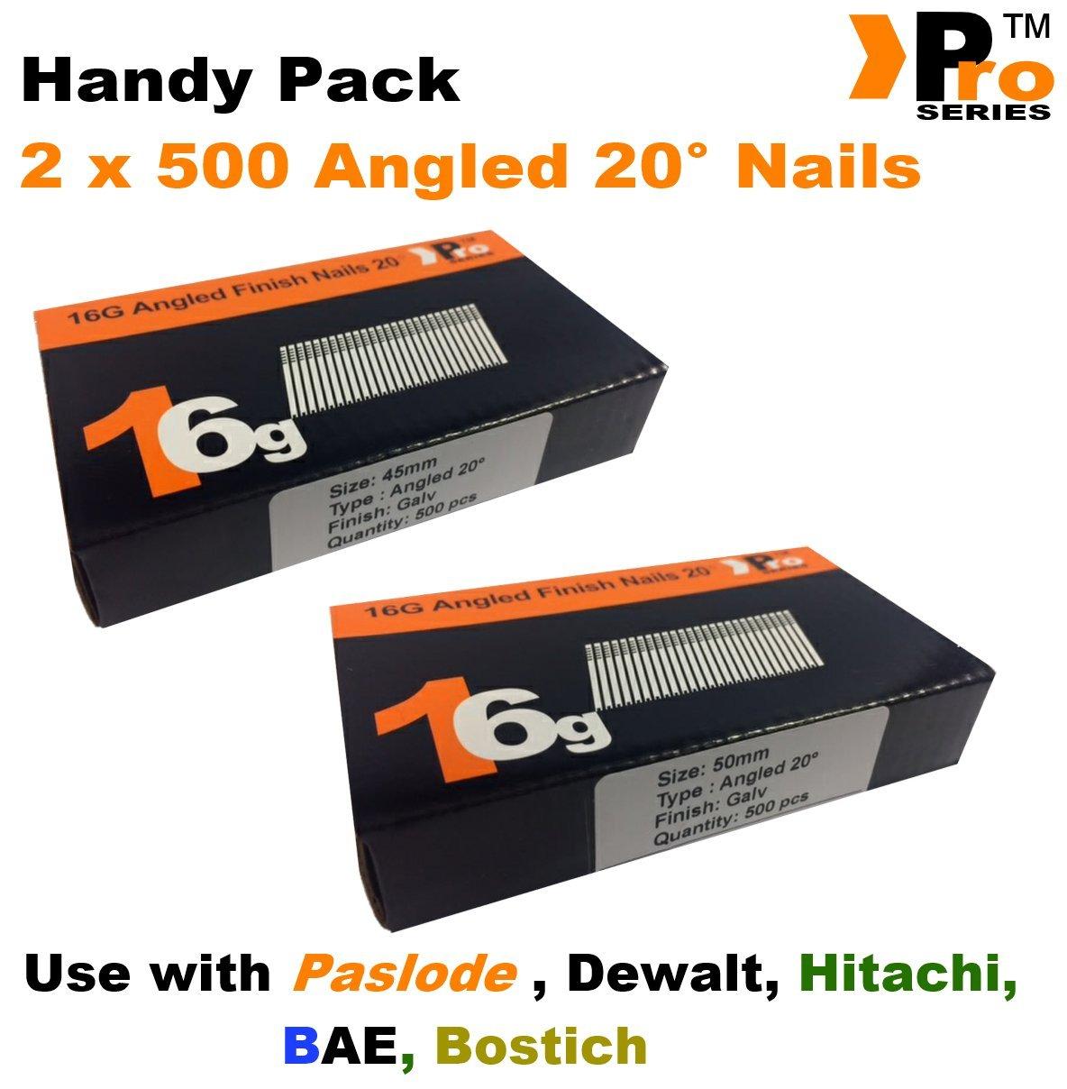 mixte pratique Packs/ Dewalt /quantit/é 1000/BRAD//Nails16/Jauge inclin/ées pour Paslode